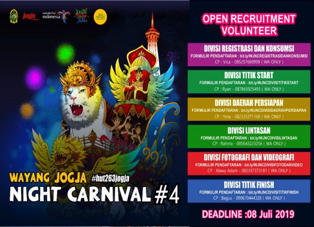 Open Recruitment Volunteer Wayang Jogja Night Carnival