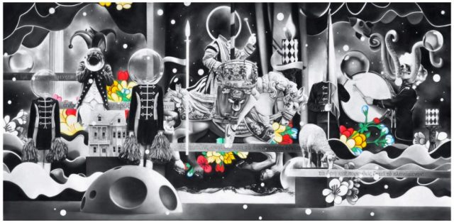 Valdo Manullang -Untitled 2019 -charcoal and oil on canvas 140 x 300 cm